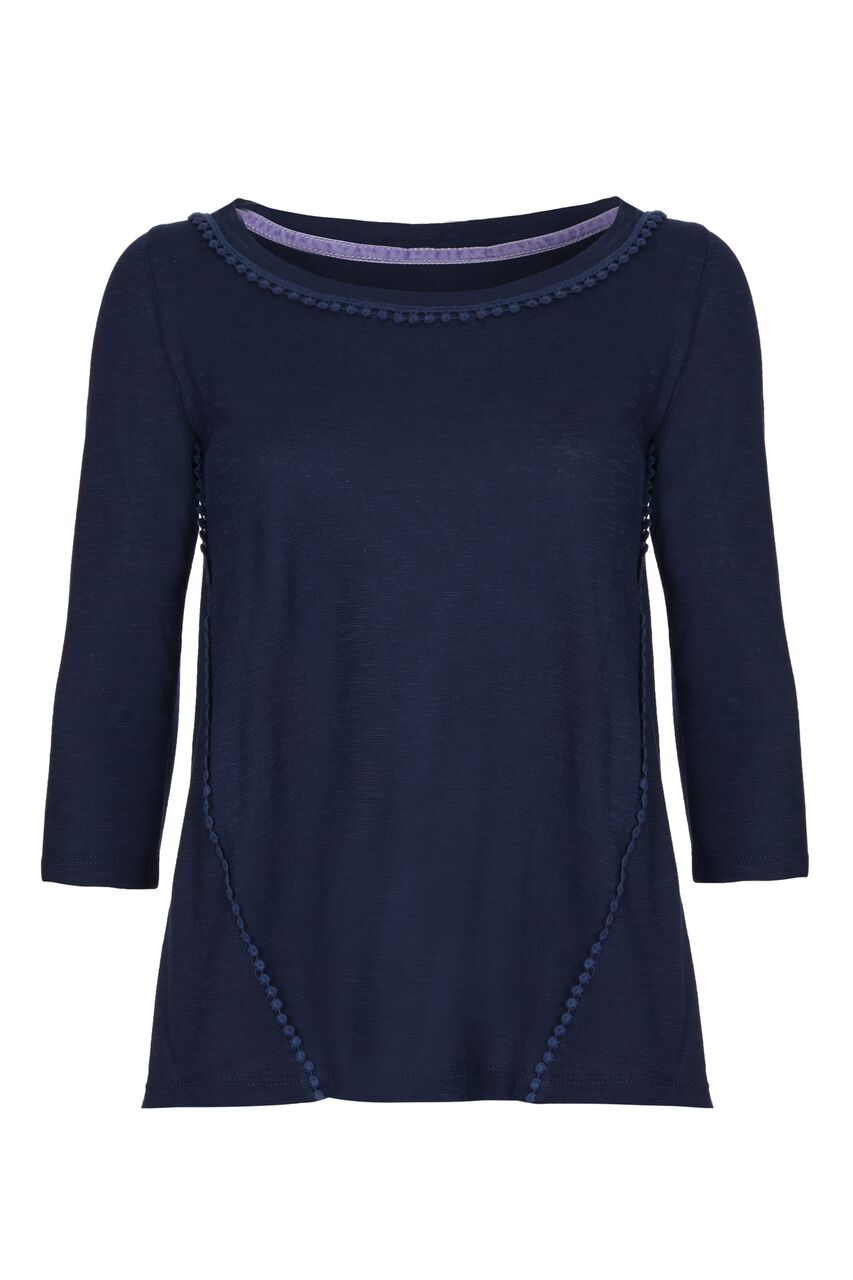 3/4 Sleeve Pom T-shirt - 3/4 Sleeve Cotton T-shirt by Lavender Hill Clothing -Navy 3/4 Length Top - Navy Top With Pom Pom Detailing