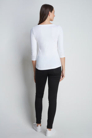 Comfortable White 3/4 Length Scoop Neck T-Shirt - Cotton Jersey Durable T-Shirt - Flattering Scoop Neck