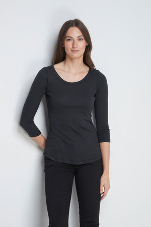 Comfortable Black 3/4 Length Scoop Neck T-Shirt - Cotton Jersey Durable T-Shirt - Flattering Scoop Neck