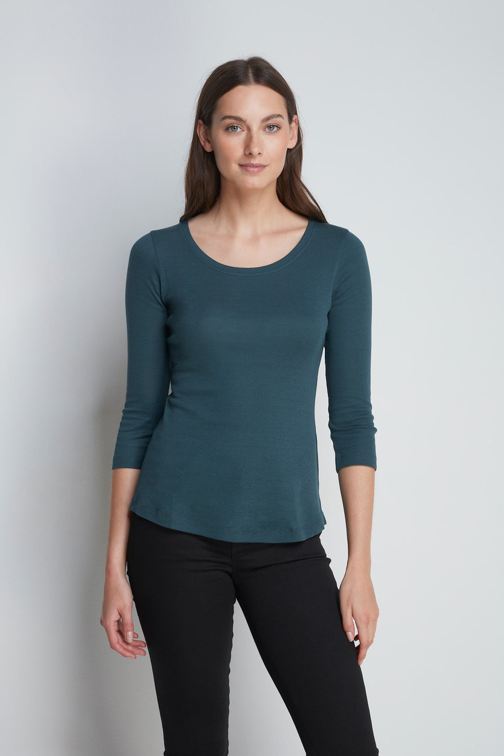 Comfortable Green 3/4 Length Scoop Neck T-Shirt - Cotton Jersey Durable T-Shirt - Flattering Scoop Neck