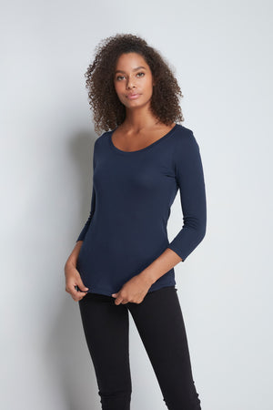 Comfortable Navy 3/4 Length Scoop Neck T-Shirt - Cotton Jersey Durable T-Shirt - Flattering Scoop Neck