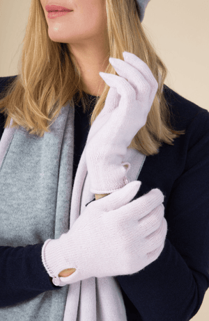 Cashmere Button Gloves - Lavender Hill Clothing