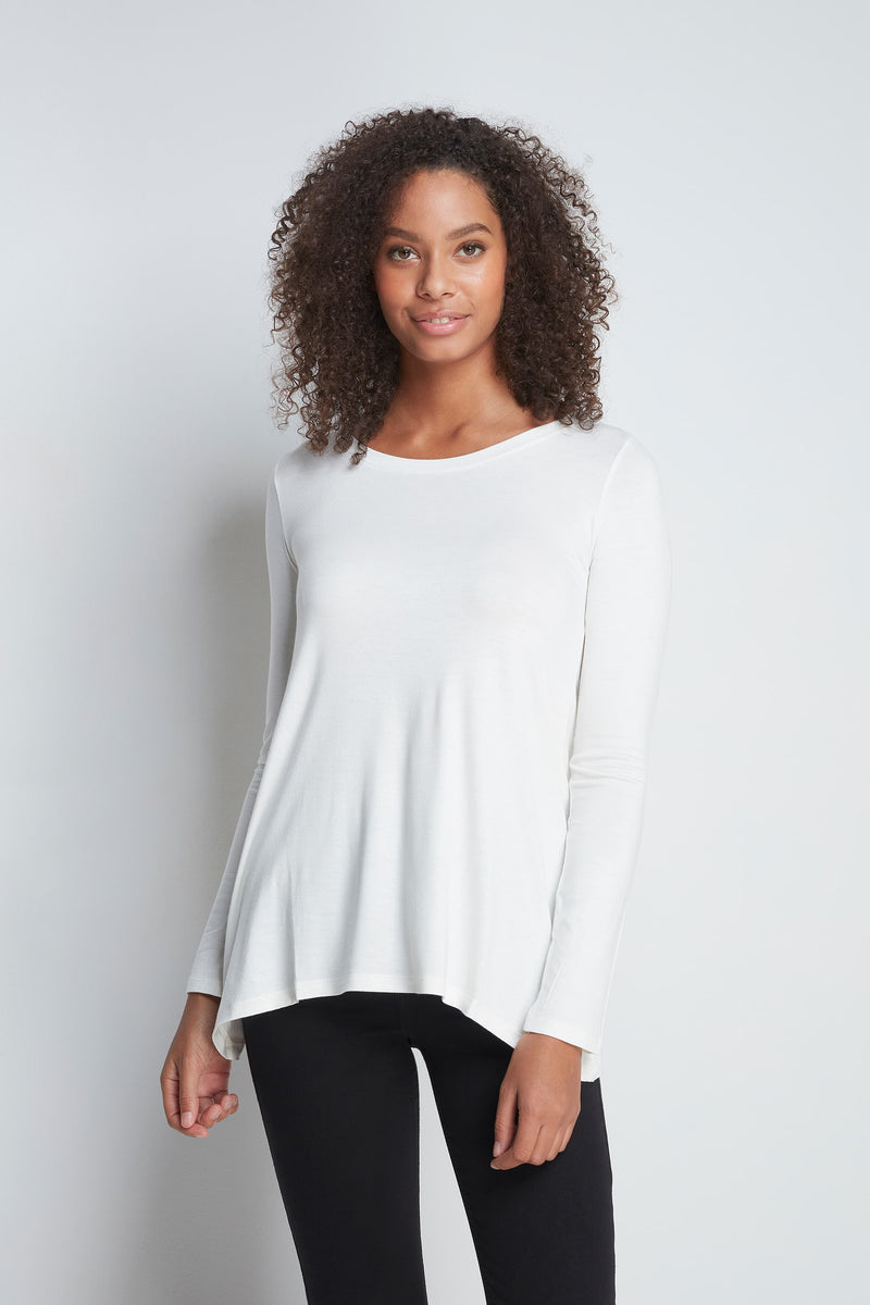 High Quality Long Sleeve A-Line Top - Soft A-Line Top - Flattering Long Sleeve A-Line Top - Loose Fit Cream A-Line Top