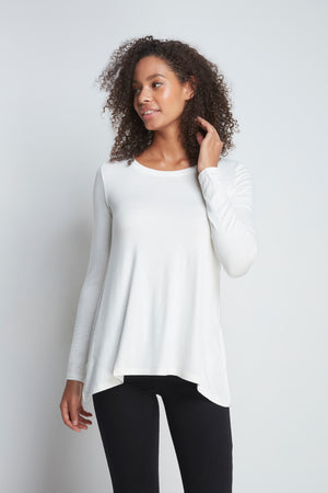 High Quality Long Sleeve A-Line Top - Soft A-Line Top - Flattering Long Sleeve A-Line Top - Loose Fit CreamA-Line Top