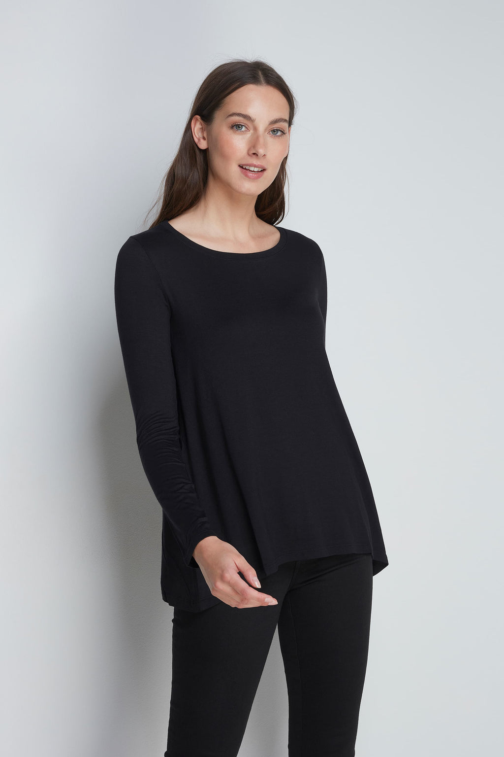 High Quality Long Sleeve A-Line Top - Soft A-Line Top - Flattering Long Sleeve A-Line Top - Loose Fit Black A-Line Top