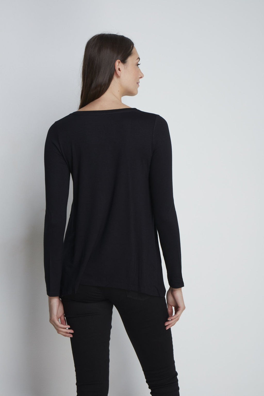 A-line Micro Modal T-shirt Long Sleeve T-shirt Lavender Hill Clothing