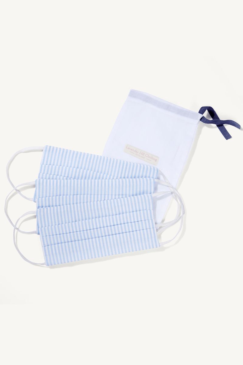 Cotton Face Mask - Pack of 3 Cotton Reusable Face Masks - Sustainable Lavender Hill Clothing - Blue Striped Face Mask