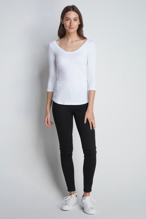 Quality cotton jersey 3/4 Sleeve Scoop T-shirt - 3/4 Sleeve Comfortable Mid-Weight T-shirt Lavender Hill Clothing - White T-Shirt