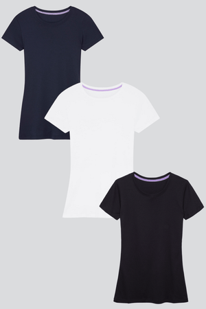 Womens Short Sleeve Crew Neck Cotton Modal Blend T-shirt Bundle | Short Sleeve Multi Pack T-shirts | Lavender Hill Clothing