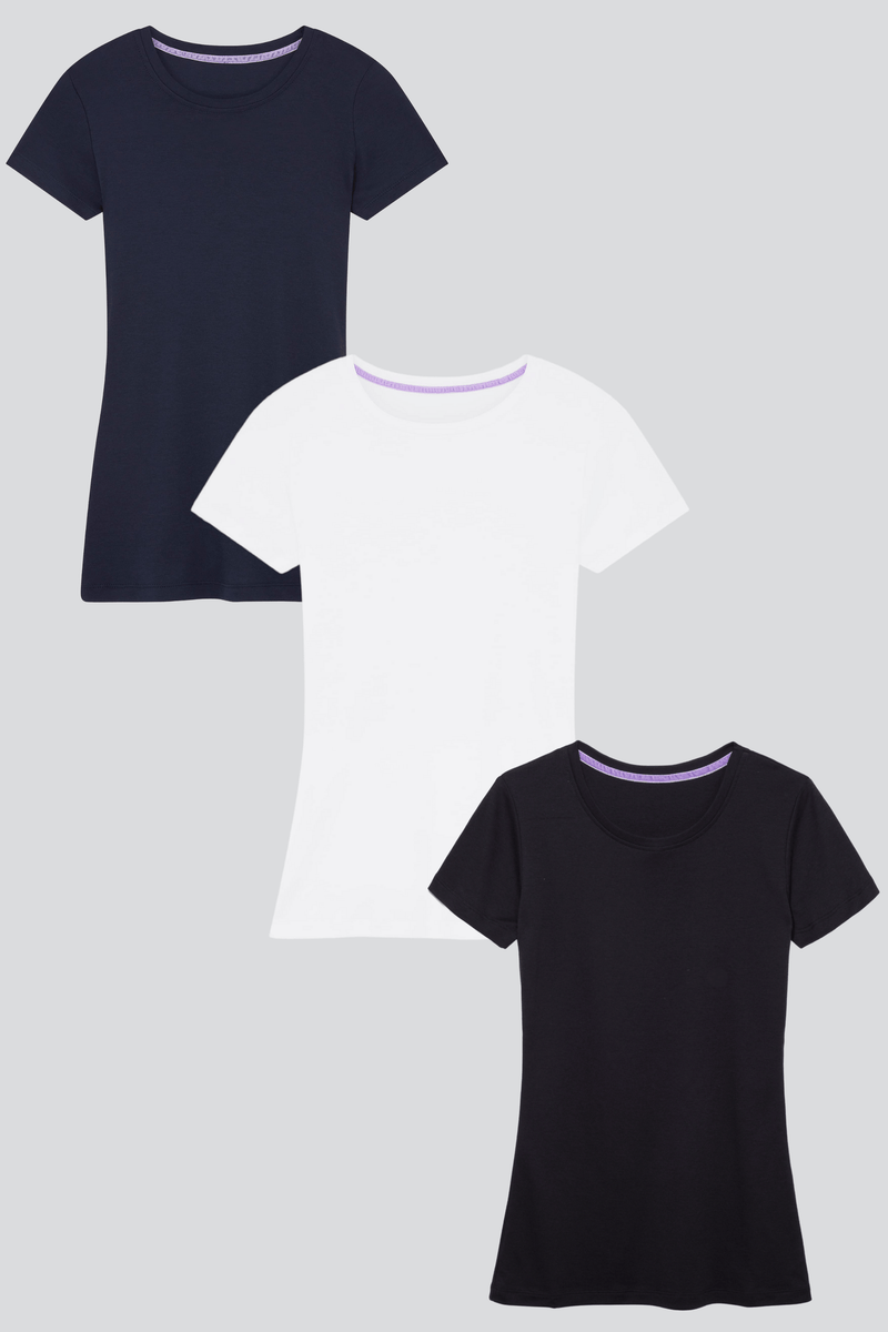 Short Sleeve Crew Neck Cotton Modal Blend T-shirt Bundle Short Sleeve T-shirt Lavender Hill Clothing