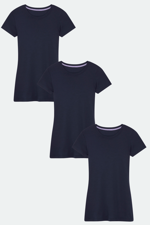 Womens Navy Short Sleeve Crew Neck Cotton Modal Blend T-shirt Bundle | Short Sleeve Multi Pack T-shirts | Lavender Hill Clothing