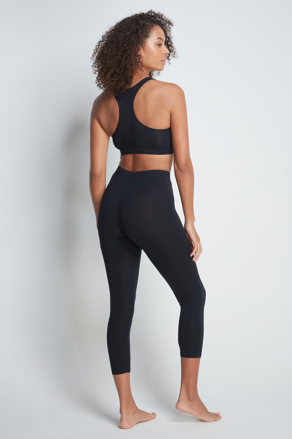 Comfortable Cropped Black Micro Modal Legging's - Soft Comfortable Leggings - Durable Black Leggings - Premium Quality Leggings - Flattering Cropped Length Black Leggings