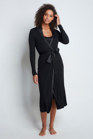 Luxury Dressing Gown - Flattering Black Dressing Gown - Soft Black Long Sleeve Dressing Gown