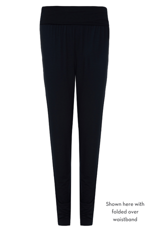 tapered ladies lounge trousers with fold down waistband