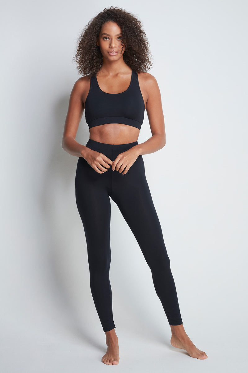 Comfortable Full Length Black Micro Modal Legging's - Soft Comfortable Leggings - Durable Black Leggings - Premium Quality Leggings - Flattering Full Length Black Leggings