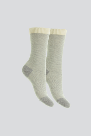 Womens Striped Cashmere Bed Socks | Grey Striped Cashmere Socks | Quality womens Socks by Lavender Hill Clothing