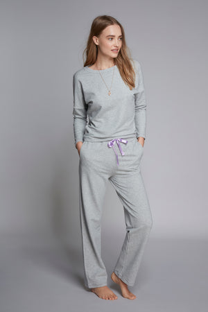 Luxury Grey Loungewear Set - Soft Grey Straight Leg Trousers - Comfortable Grey Sweatshirt - High Quality Loungewear