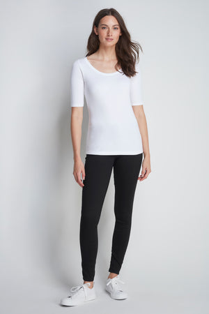 Mid-Weight Flattering Half Sleeve White Scoop Neck T-Shirt - Quality Half Sleeve Scoop - Classic Silhouette