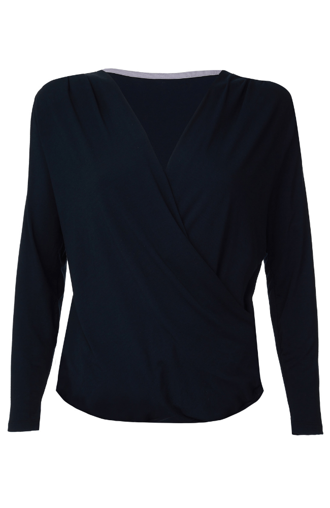High Quality Long Sleeve Wrap Top - Comfortable Wrap Top - Flattering Black Wrap Top - Soft Long Sleeve Wrap Top