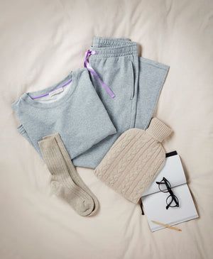 Luxury Grey Loungewear Set - Soft Grey Straight Leg Trousers - Comfortable Grey Sweatshirt - Luxury Loungewear