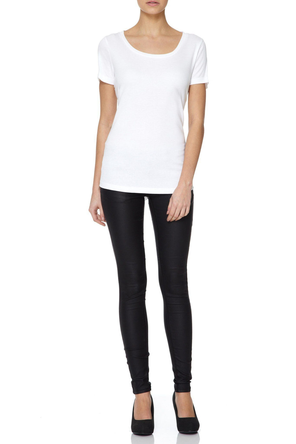 Scoop Neck Cotton Modal Blend T-shirt by Lavender Hill Clothing