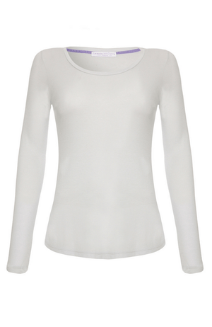 Long Sleeve Light Grey Scoop Neck T-shirt - High Quality Flattering Scoop Neck - Classic Mid-Weight Long Sleeve T-Shirt