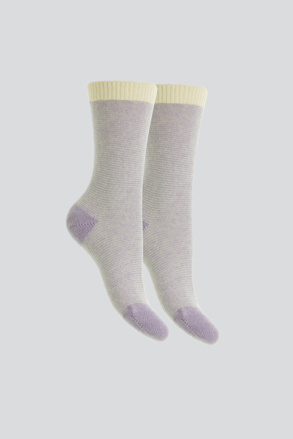 Womens Striped Cashmere Bed Socks | Lilac Striped Cashmere Socks | Quality womens Socks by Lavender Hill Clothing