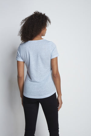 Light Weight Short Sleeve Linen T-Shirt - High Quality Linen T-Shirt - Flattering Short Sleeve T-Shirt - Blue Linen T-Shirt