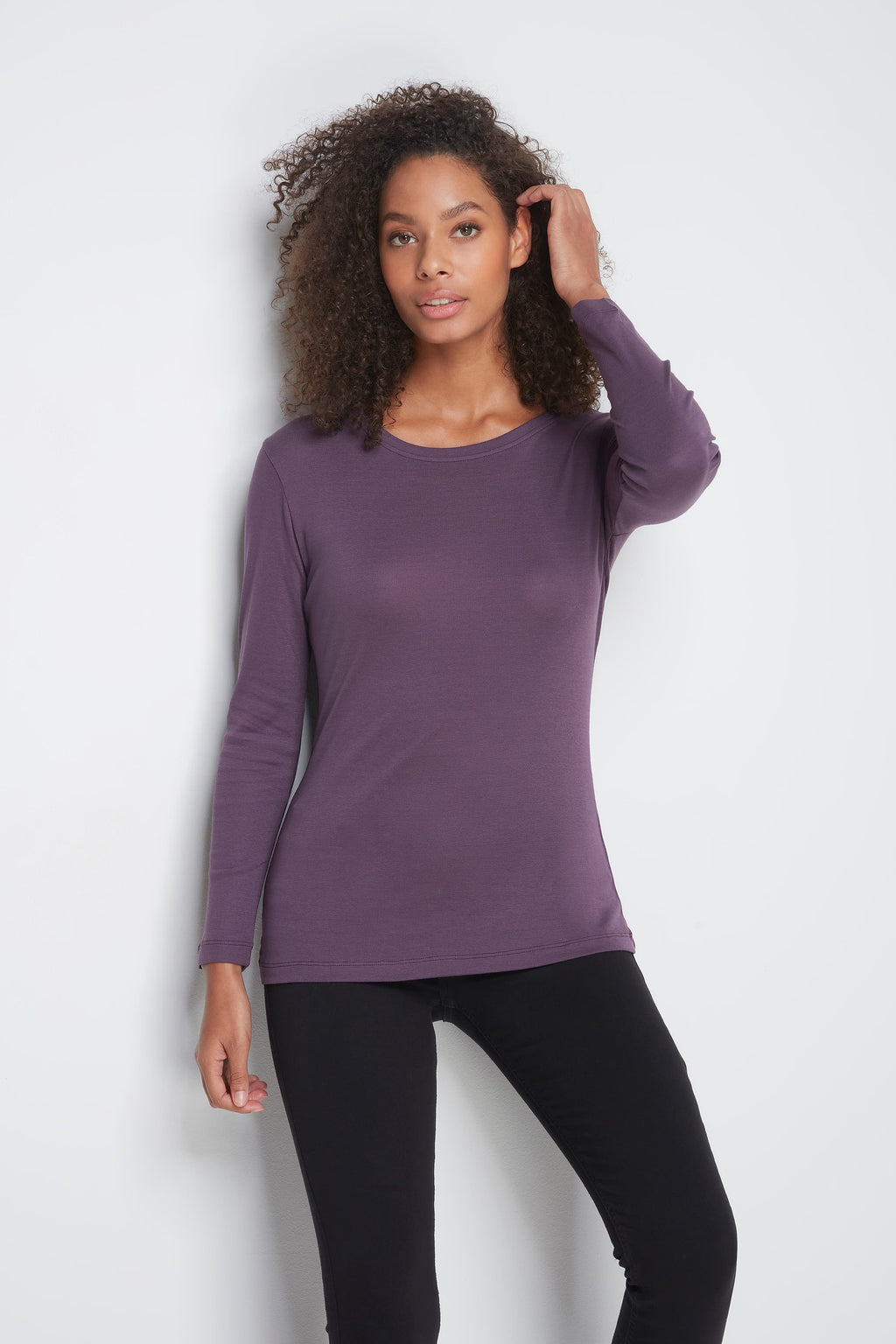 High Quality Long Sleeve Crew Neck T-Shirt - Comfortable Crew Neck T-Shirt - Soft Long Sleeve T-Shirt - Flattering Plum Long Sleeve Crew Neck T-Shirt