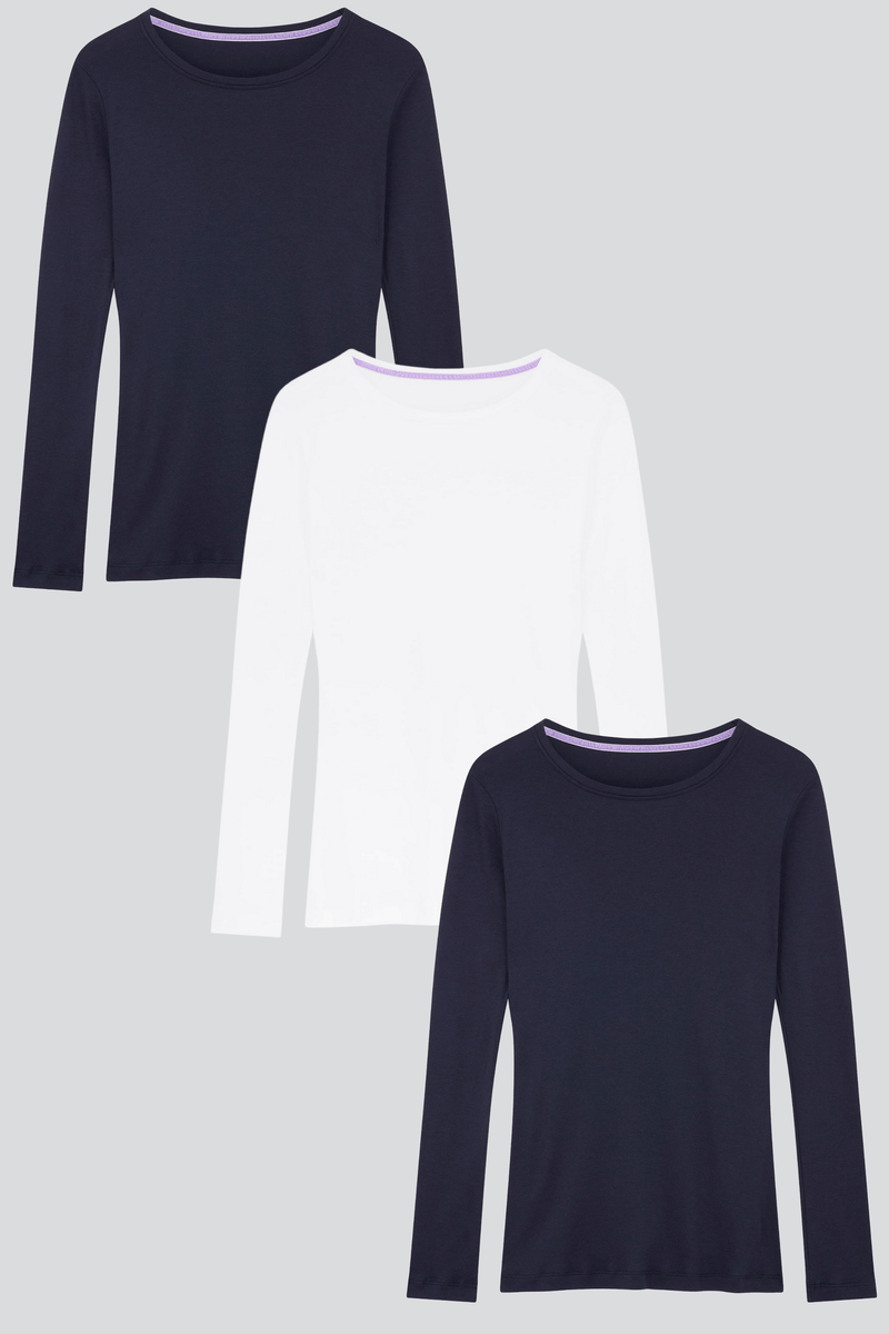 Long Sleeve Crew Neck Cotton Modal Blend T-shirt Bundle Short Sleeve T-shirt Lavender Hill Clothing