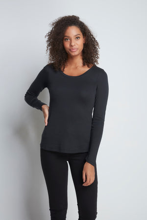 Long Sleeve Black Scoop Neck T-shirt - High Quality Flattering Scoop Neck - Classic Mid-Weight Long Sleeve T-Shirt