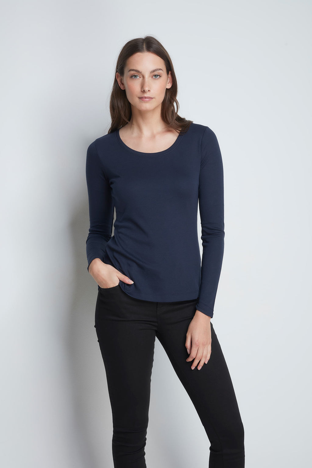 Long Sleeve Navy Scoop Neck T-shirt - High Quality Flattering Scoop Neck - Classic Mid-Weight Long Sleeve T-Shirt
