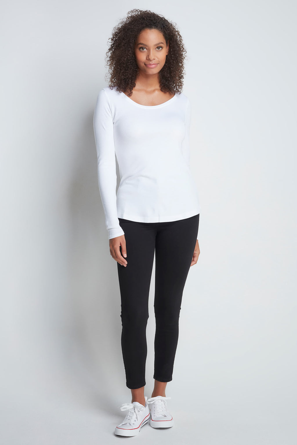 Long Sleeve White Scoop Neck T-shirt - High Quality Flattering Scoop Neck - Classic Mid-Weight Long Sleeve T-Shirt