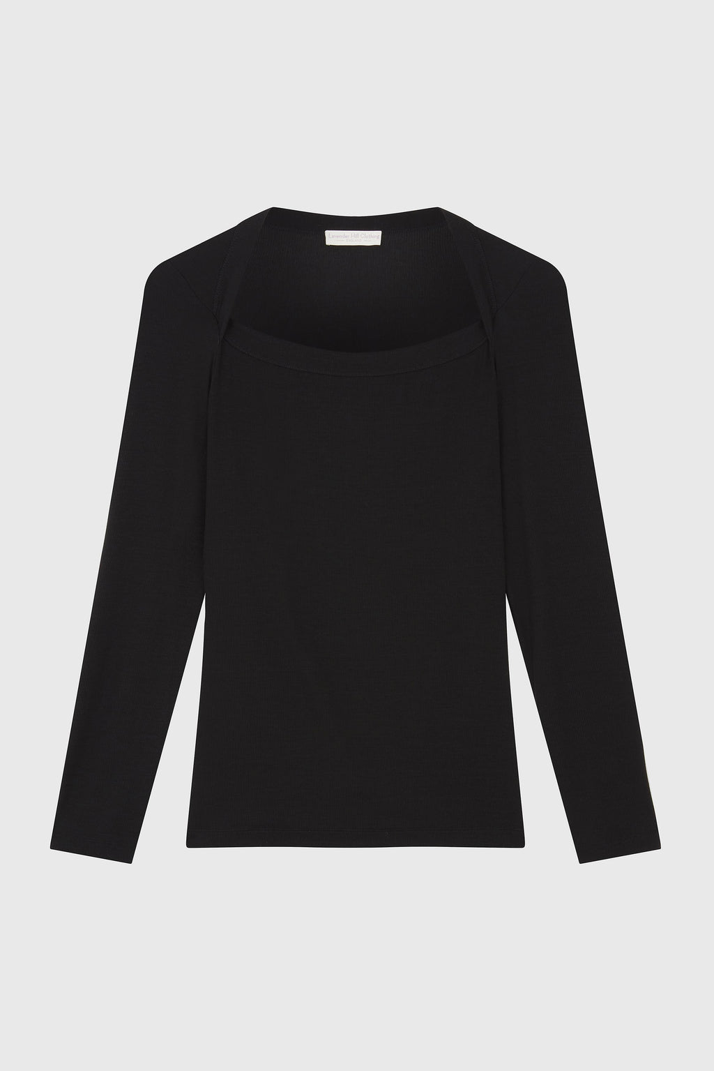Ribbed Square Neck Tencel Lyocell Top Long Sleeve T-shirt - Black Square Neck T-Shirt - Black Ribbed Long Sleeve T-Shirt- Sustainable Lavender Hill Clothing