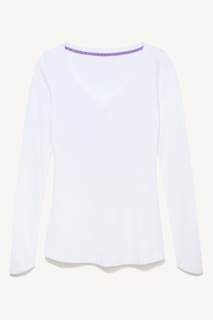 Long Sleeve V Neck Cotton Modal Blend T-shirt Long Sleeve T-shirt Lavender Hill Clothing