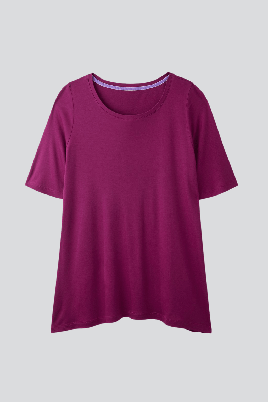 Magenta Mid Sleeve A-line Micro Modal T-shirt | Flattering loose fit half sleeve womens T-shirt | Lavender Hill Clothing