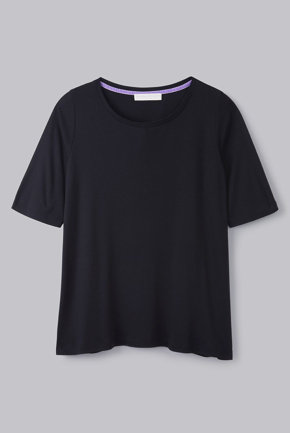 Black Mid Sleeve A-line Micro Modal T-shirt | Flattering loose fit half sleeve womens T-shirt | Lavender Hill Clothing