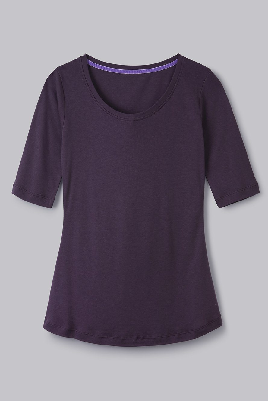 Half Sleeve Scoop Neck Cotton Modal Blend T-Shirt Half Sleeve T-shirt Lavender Hill Clothing