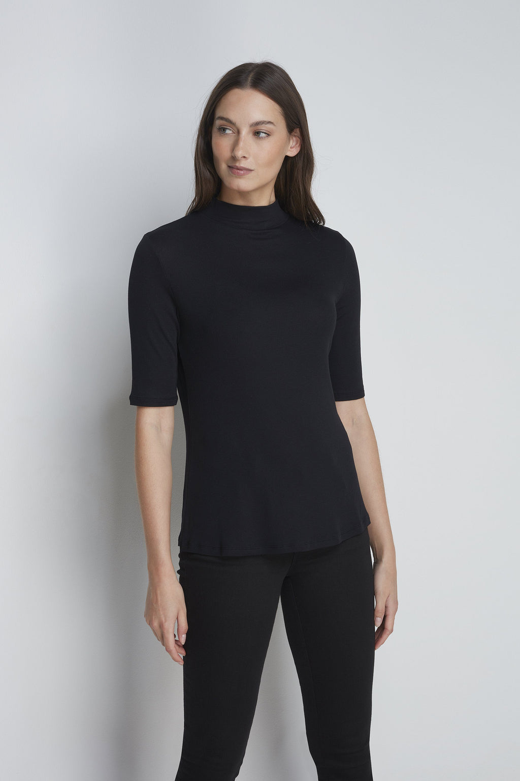 Half Sleeve Mock Neck - High Quality Black Mock Neck - Half Sleeve Flattering Mock Neck - Sustainable Lavender Hill Clothing