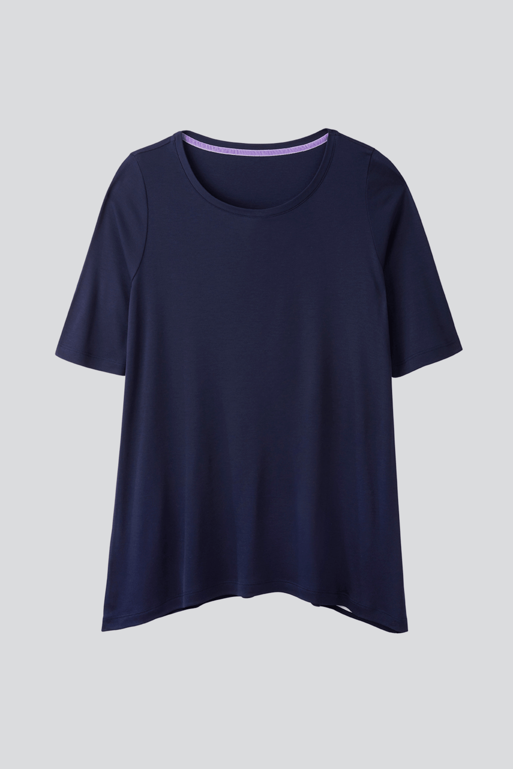 Navy Mid Sleeve A-line Micro Modal T-shirt | Flattering loose fit half sleeve womens T-shirt | Lavender Hill Clothing