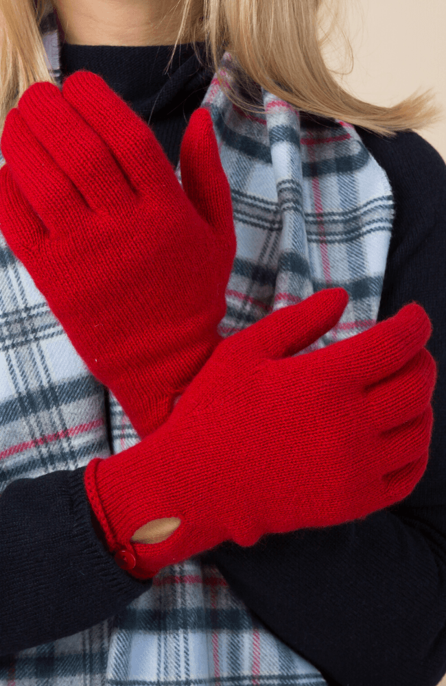 Red Cashmere Button Ladies Gloves