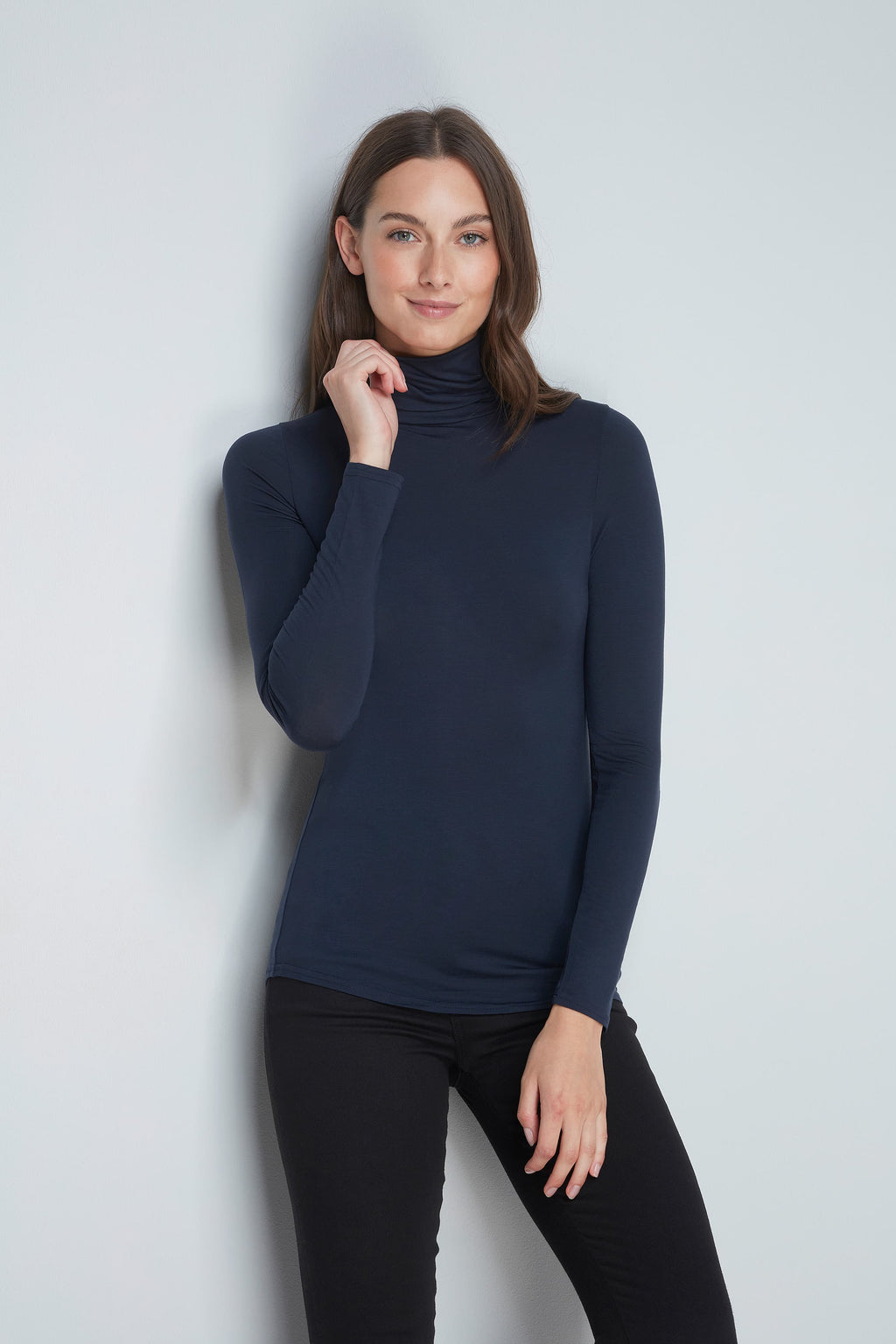 Polo Neck Top Long Sleeve T-shirt Lavender Hill Clothing