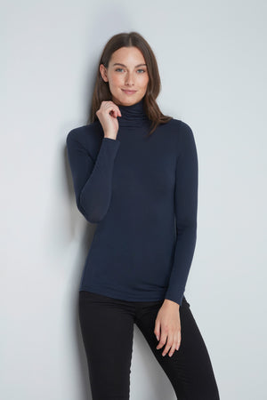 High Quality Long Sleeve Polo Neck - Comfortable Polo Neck - Flattering Long Sleeve T-Shirt - Soft Navy Long Sleeve Polo Neck