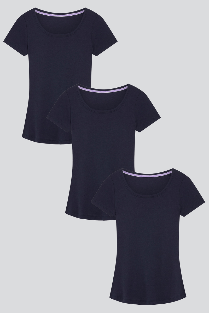 Short Sleeve Scoop Neck Cotton Modal Blend T-shirt Bundle Short Sleeve T-shirt Lavender Hill Clothing