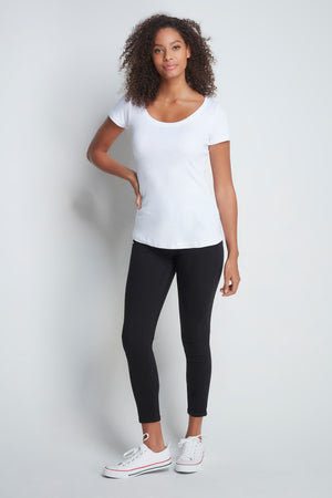 Classic Short Sleeve Scoop Neck T-Shirt - Mid-Weight Flattering White T-Shirt - A Comfortable Quality Staple