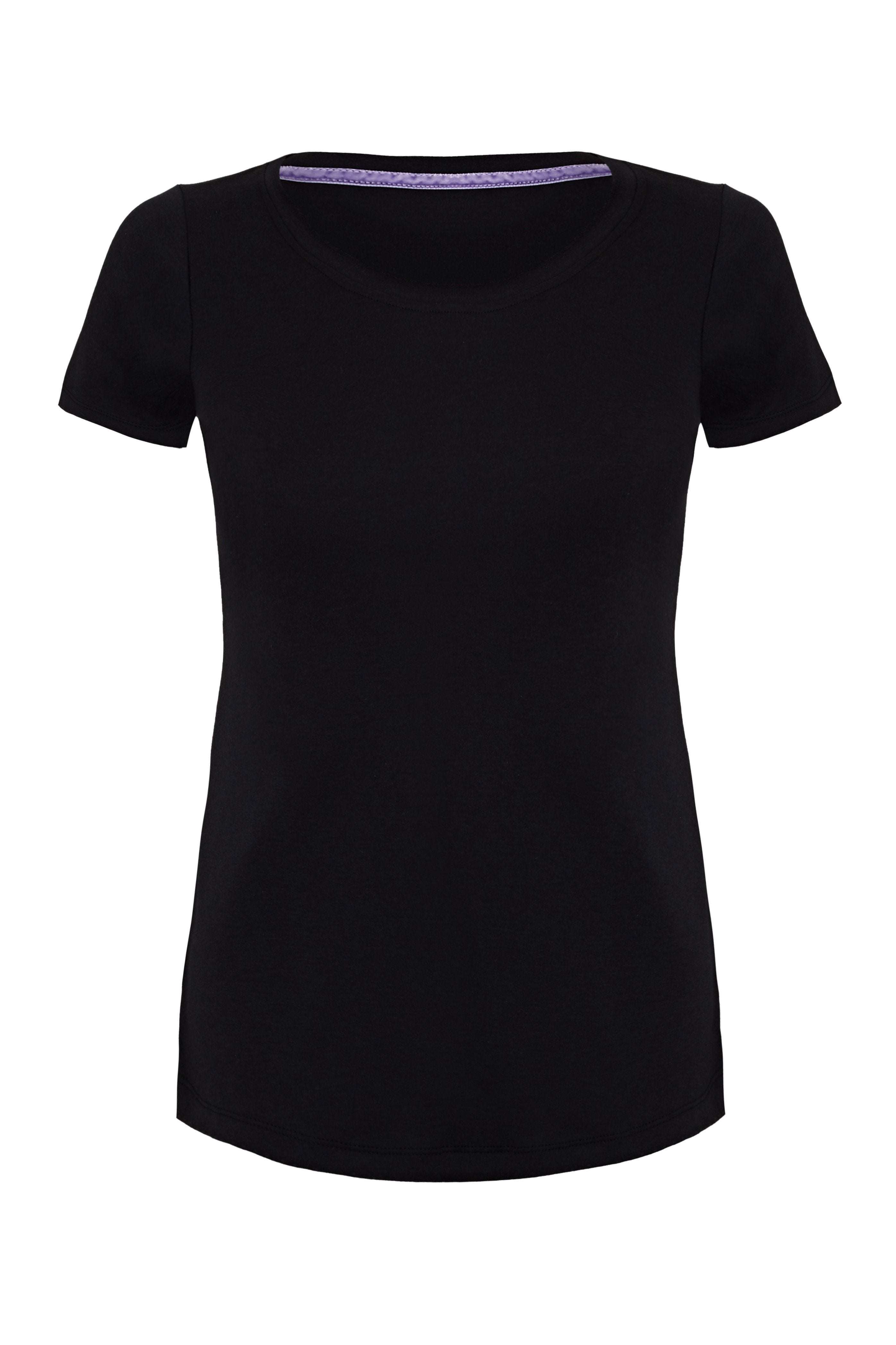 Classic Short Sleeve Scoop Neck T-Shirt - Mid-Weight Flattering Black T-Shirt - A Comfortable Quality Staple