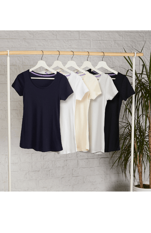 Classic Short Sleeve Scoop Neck T-Shirt - Mid-Weight Flattering T-Shirts - A Comfortable Quality Staple