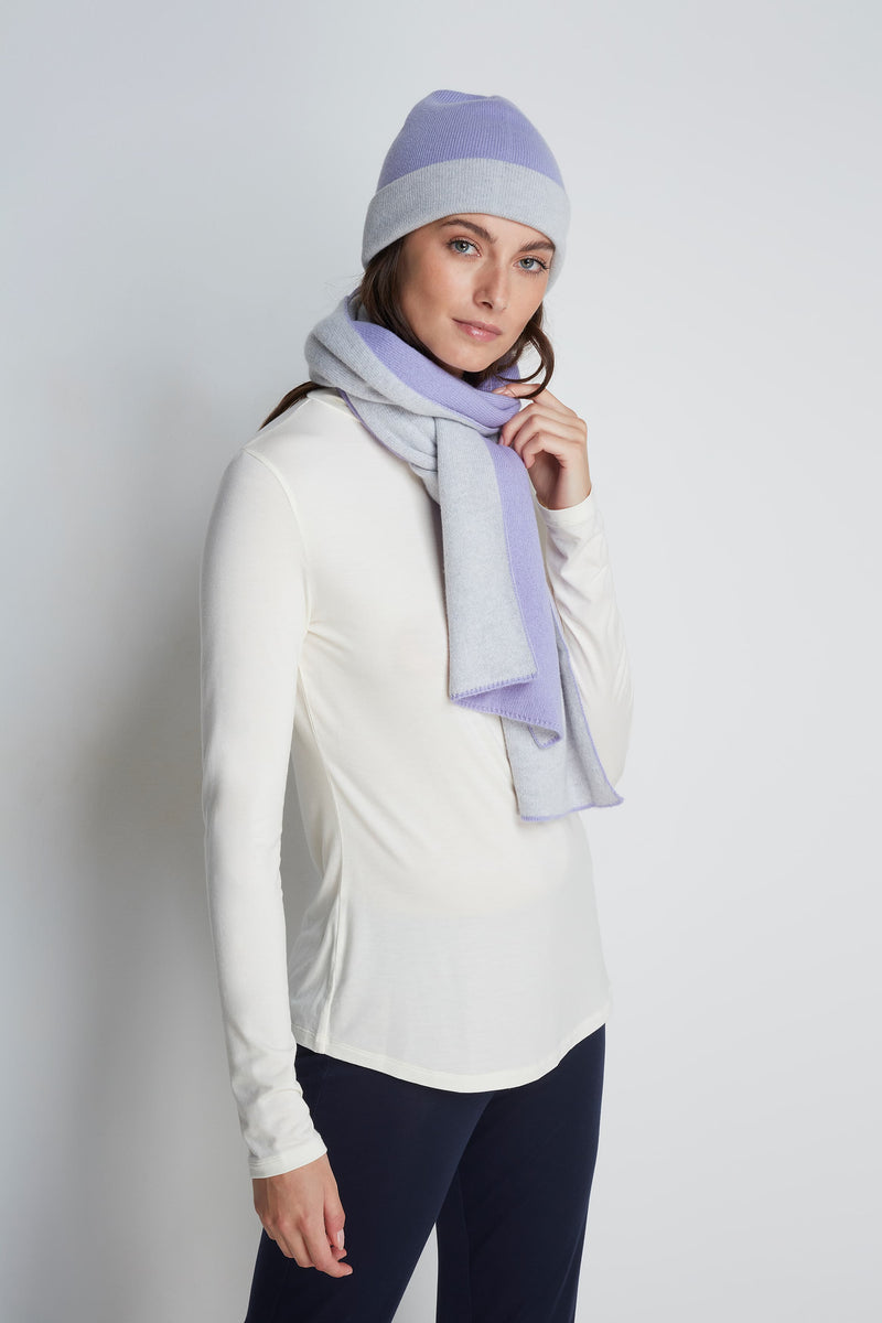 Reversible Scottish Cashmere Scarf by Lavender Hill Clothing - Light Blue Scottish Cashmere Hat - Soft Comfortable Cashmere Hat - Sustainable Lavender Hill Clothing