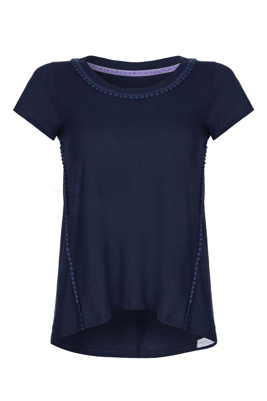 Pom T-shirt - Navy Short Sleeve T-shirt Lavender Hill Clothing