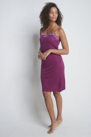 Luxury Micro Modal Night Dress - Elegant Magenta Night Dress - Comfortable Micro Modal Slip Dress - Sustainable Lavender Hill Clothing